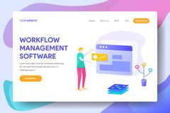WORK FLOW MANAGEMENT SOFTWARE. Landing page template of WORK FLOW MANAGEMENT SOFTWARE Concept. Modern illustration flat design concept of web page design for royalty free illustration