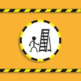 Work on a folding ladder. Vector icon. royalty free illustration