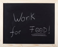 Work for food. Expression on blackboard Stock Photography