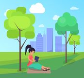 Work on Fresh Air Vector Banner Woman with Laptop. Work on fresh air conceptual vector banner with woman working on laptop sitting on lawn under tree, freelancer Stock Photography