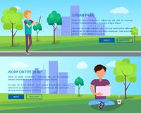 Work on Fresh Air in Urban Park Web Banners Set. Guys chatting using computer technologies in free wi-fi zone vector illustration in flat design vector illustration