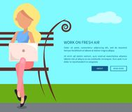 Work on Fresh Air Vector Banner Woman with Laptop. Work on fresh air conceptual vectorweb banner with text. Woman working on laptop sitting on bench, freelancer Royalty Free Stock Photography