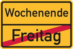 From work on friday into the weekend - german sign. Vector Stock Image