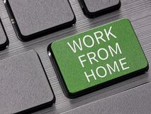 Free Work From Home Key On Computer Keyboard Warning Message Concept Royalty Free Stock Photos - 180244818