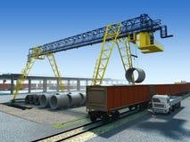 Work of gantry crane. Loading/unloading the wagon on the logistics station royalty free illustration