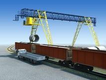 Work of gantry crane. Loading/unloading the wagon on the logistics station stock illustration
