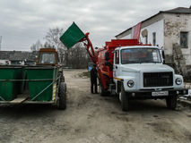The work of garbage trucks in Russia. Royalty Free Stock Images