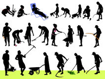 Work in the garden. People silhouettes with tools Royalty Free Stock Image