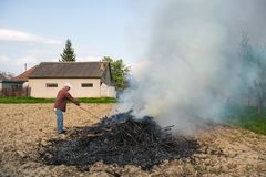 Work in the garden. Farmer burning dried branches royalty free stock photo