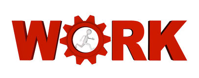 Work Gear. Shiny metal red letters along with gear forming WORK word; great for work, process, career and business concepts Royalty Free Stock Photo