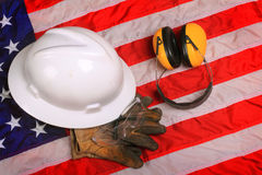 Work Gear of American Blue Collar Worker Stock Photo