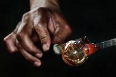 Work of Glass Blower. Glassblower Makes the Sphere royalty free stock images