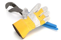 Work glove and wrench Royalty Free Stock Photos