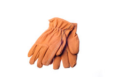 Work gloves. Leather work gloves on white Stock Images