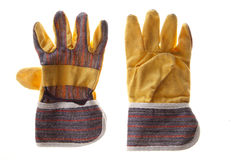 Work gloves. Pair of protective work gloves isolated on white background Stock Photos