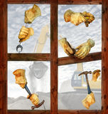 Work gloves. Pairs of work gloves on a wooden frame. Background image of a backhoe to depict a construction environment Stock Photos