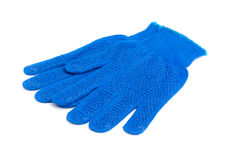 Work gloves blue color isolated ower white. Background stock photo