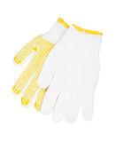 Work gloves made of cotton fabric with rubber coating Stock Images