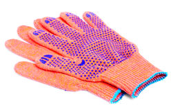 Work gloves orange colour on white Stock Photos