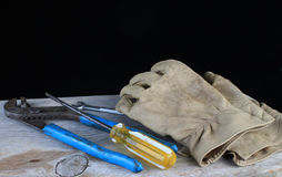 Work Gloves and Tools Stock Photography