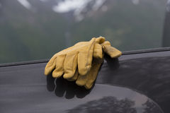 Work gloves on truck Royalty Free Stock Photo