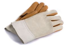 Work gloves on white background. Leather work gloves with five fingers. Shot with an exposure that brings out the leather's texture good detail Stock Photo
