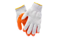 Work gloves on white  with clipping path. Royalty Free Stock Photography