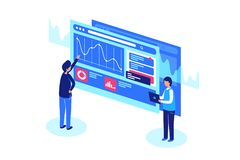 Work with graphs and diagrams. Vector illustration royalty free illustration