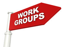 Work groups. Word on arrow pointing to right, concept of teams and business groups Stock Photos