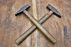 Work hammer on wood Royalty Free Stock Photo