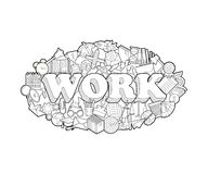Work - Hand Lettering and Doodles Elements Sketch.  Vector illustration Stock Photo