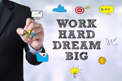 WORK HARD DREAM BIG. Businessman drawing Landing Page on blurred abstract background stock photo