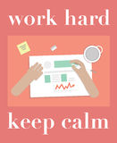 Work hard and keep calm motivator with office picture. Royalty Free Stock Photography