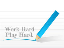 Work hard play hard written. On a white paper Stock Photography
