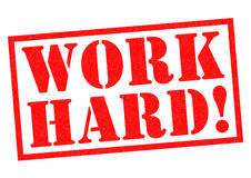 WORK HARD!. Red Rubber Stamp over awhite background Royalty Free Stock Photo