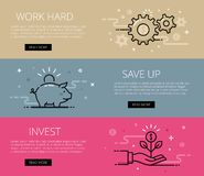 Work hard. Save Up. Invest. Flat line vector web banners set Stock Photography