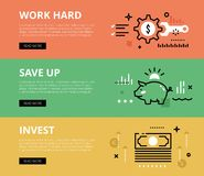 Work hard. Save up. Invest. Web banners  set. Flat line web banners of financial literacy. Line money gearwheel, wrench, paper money and piggy bank for websites Stock Photos