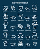 Work health and occupational safety icons. Work health and occupational safety protection icons. Vector illustration Stock Images