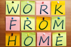 Work from home ad. Made by post it royalty free stock photo