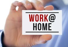 Work at Home. Business card concept royalty free stock photo