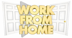 Work From Home Business Open Door Words 3d Illustration Stock Photography