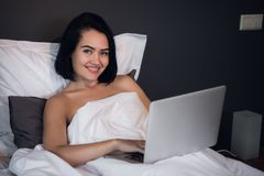 Work from Home, Business from home, Remote work, Telejob. Young brunette woman work at home. Work from Home, Business from home, Remote work, Telejob. Young stock photography