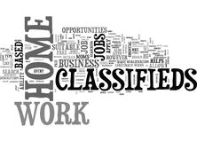 Work At Home Classifieds Word Cloud. WORK AT HOME CLASSIFIEDS TEXT WORD CLOUD CONCEPT Royalty Free Stock Image