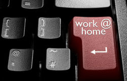 Work at home. Computer enter key with work at home stock photography