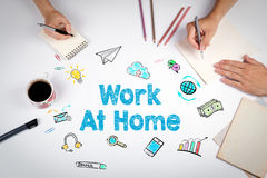 Work At Home Concept. The meeting at the white office table stock photo