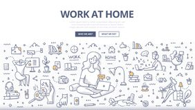 Work at Home Doodle Concept stock photos
