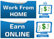 Work From Home Earn Online. Set of banners stock illustration