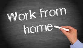 Work from home - female hand with chalk writing royalty free stock image