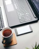 Work from home. Freelance work with coffee royalty free stock photo