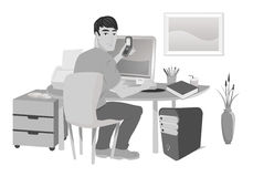 Work from home grayscale Stock Photo
